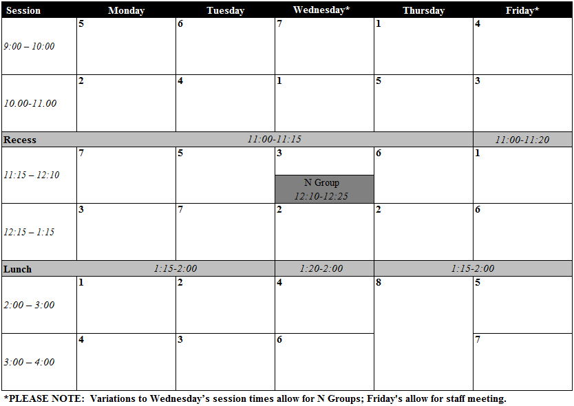 Narrabundah College Timetable