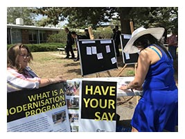 students and staff provided their ideas at a pop-up