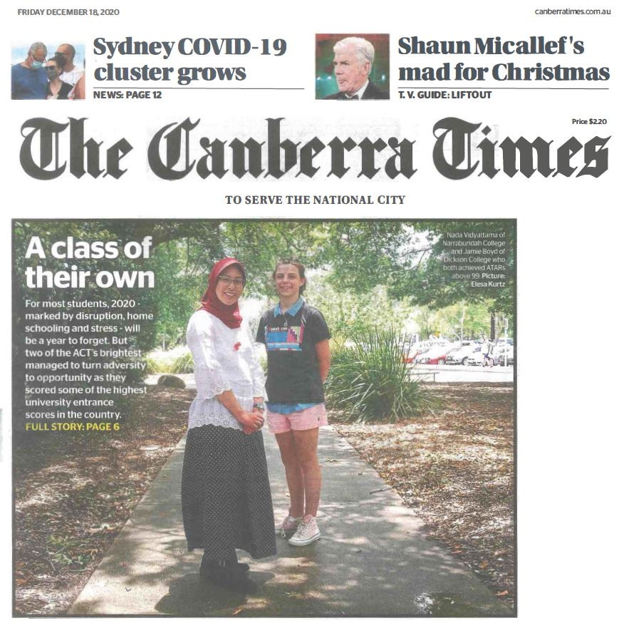 Canberra Times (18-12-2020) Page 1